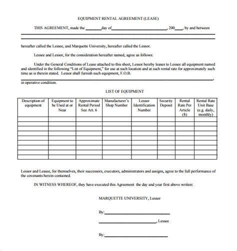 equipment rental lease agreement template sle equipment rental agreement template 14 free