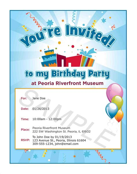 6th birthday invitation card template invitation text image collections