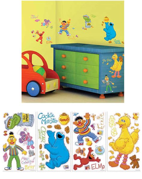 wall decal decorate kids room with sesame street wall