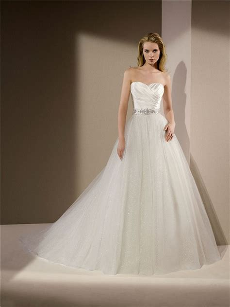 gown strapless ruched satin glitter tulle wedding