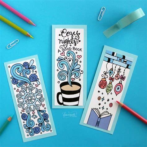 printable bookmarks design winter bookmarks coloring page dawn nicole designs 174