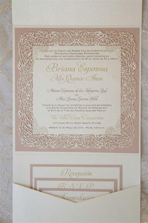 quinceanera pocket invitation with laser cut vine