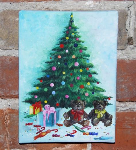 acrylic painting gifts tree with gifts acrylic painting on canvas by