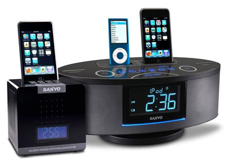 bedroom music system sanyo launches cube alarm clock radio and dual dock music system