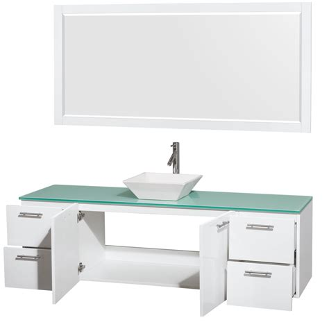 Glossy Pyra wyndham collection 72 inch single bathroom vanity in glossy white green glass countertop pyra