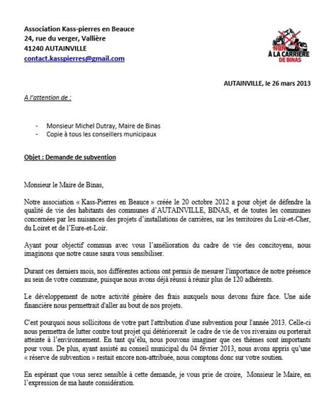 Demande De Subvention Lettre Courrier Demande De Subvention Association