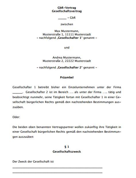 Musterrechnung Gbr Rechtsnatur Untersttzung Fr Ihre Gbr Grndung 2063616 Gbr Gesellschaftsvertrag Muster Gbr