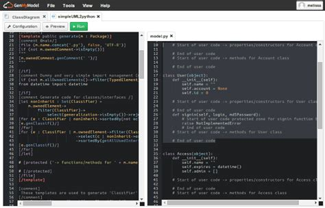 python html template python code generator the genmymodel