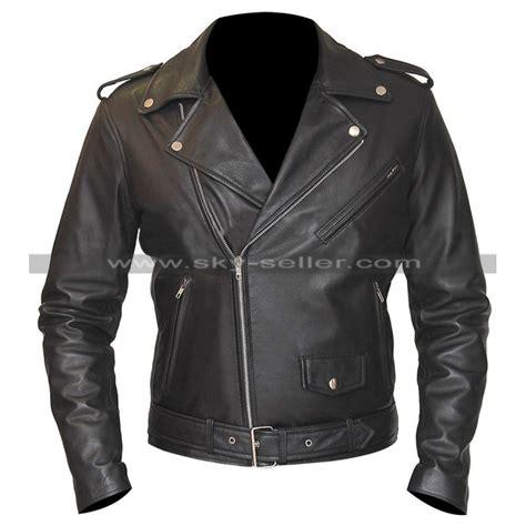 belted rider biker black leather jacket