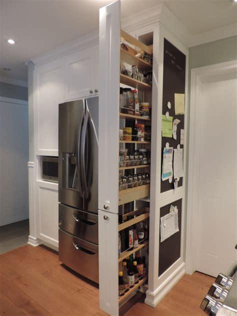 pull  pantry  chalkboard transitional kitchen
