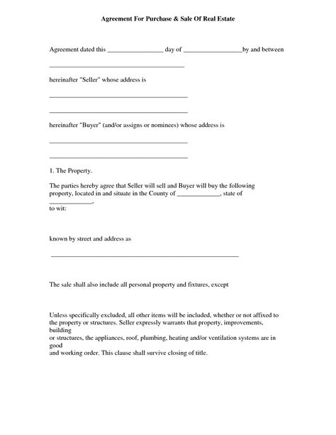real estate purchase agreement template contract or purchase sale agreement form sle for real