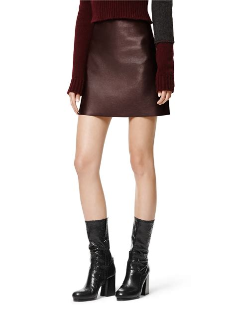calvin klein collection shiny plonge leather skirt in