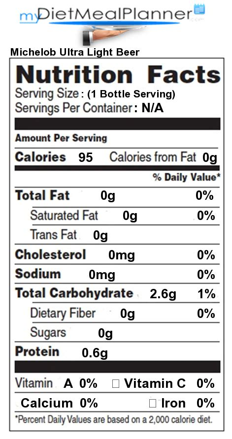 Calories In Michelob Ultra Light Nutrition Facts Label Beverages 17 Mydietmealplanner Com