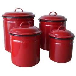 red enamelware 4 piece canister set retro vintage home
