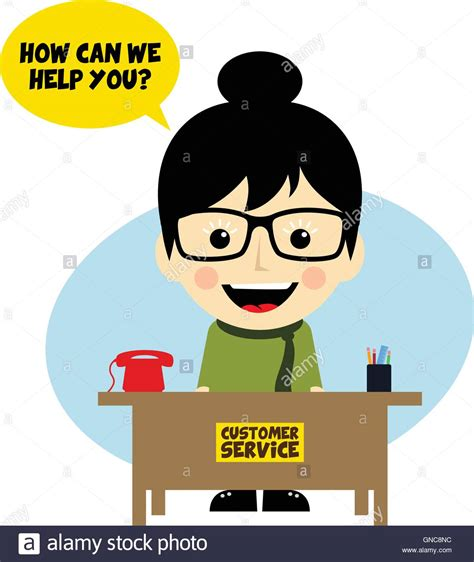customer service desk customer service desk character stock vector