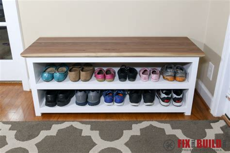 how to make a shoe storage bench diy entryway shoe storage bench fixthisbuildthat