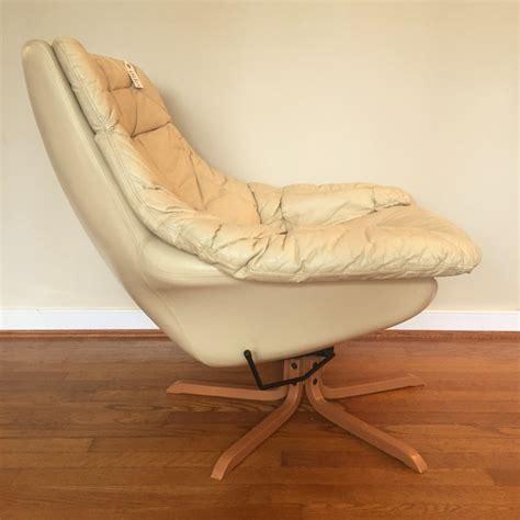 danish modern leather swivel lounge chair  ottoman  hw klein  bramin epoch