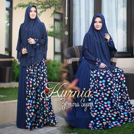 Imelda Muslim Gamis Syar I Ti21961 zemora navy baju muslim gamis modern