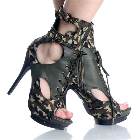 green camo lace up army ankle boot platform heel