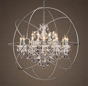 orb chandelier with crystals foucault s orb chandelier from restoration hardware
