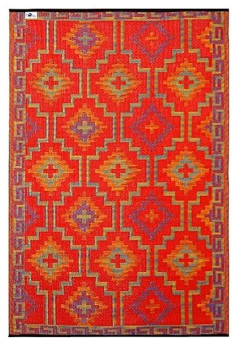 Fab Habitat Outdoor Rug Fab Habitat 5ft X 8ft Lhasa Outdoor Rug Orange Violet Rustic Outdoor Rugs By Casa