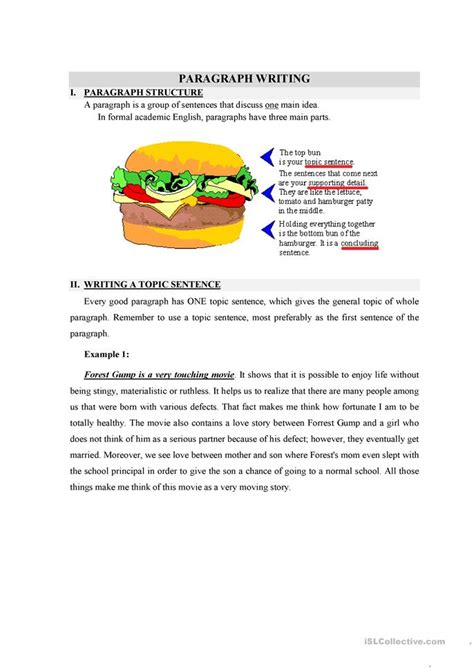 Topic Sentence Worksheet High School by Writing A Topic Sentence Worksheet Free Esl Printable