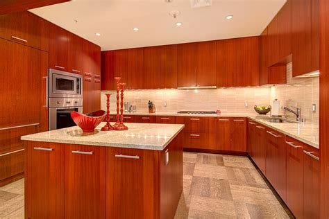cherry kitchen backsplash modern new york by glass 23 cherry wood kitchens cabinet designs ideas