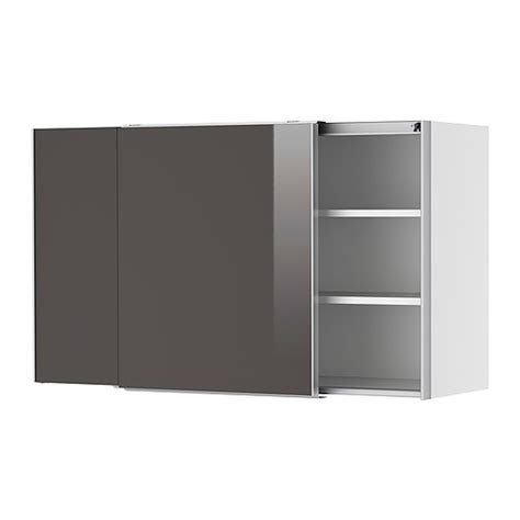 faktum wall cabinet with sliding doors abstrakt grey