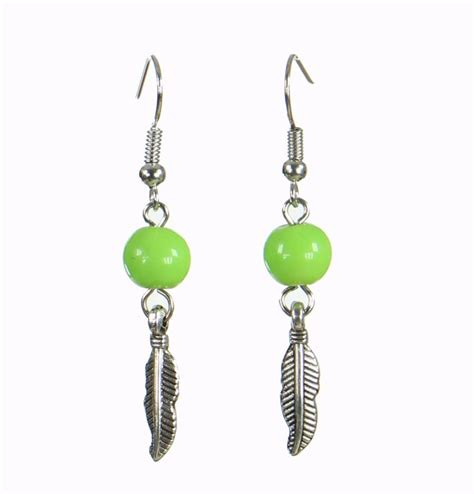 boucles d oreilles originales plumia verte