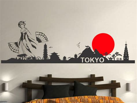 asian wall stickers tokyo skyline rising sun sticker wall decor 183 moonwallstickers 183 store