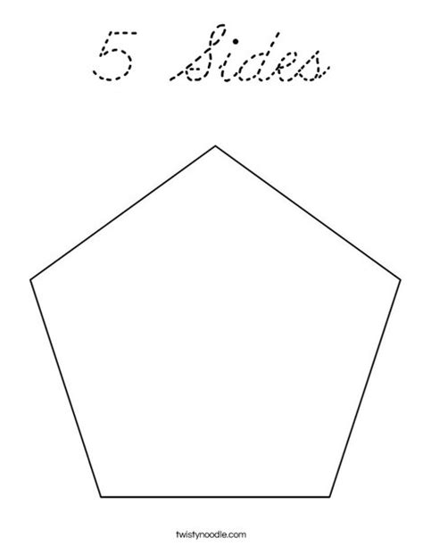Pentagon Coloring Page 5 Sides Coloring Page Cursive Twisty Noodle by Pentagon Coloring Page