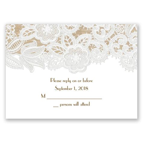 lace for card wood and lace response card invitations by