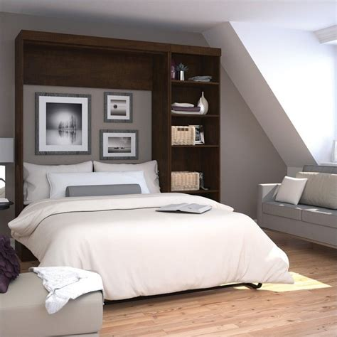 wall unit beds bestar pur 84 quot full wall bed with 5 shelf storage unit in