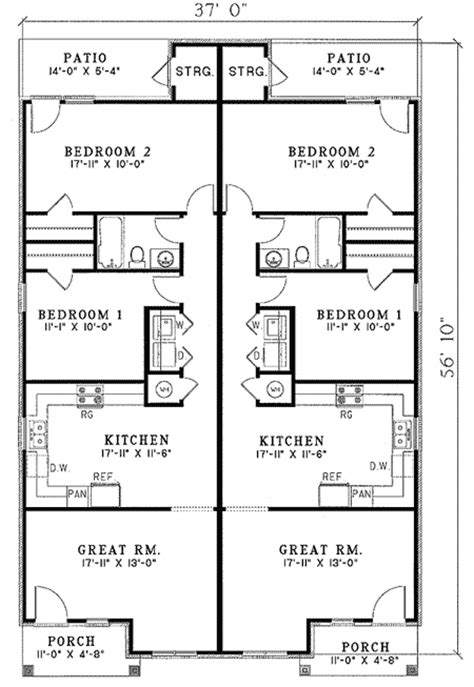 Narrow Lot Duplex Plans by Architectural Designs