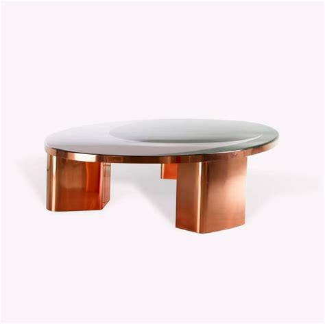 Oval Shaped Coffee Tables 21st Century European Copper And Resin Inlay Oval Shaped Coffee Table For Sale At 1stdibs