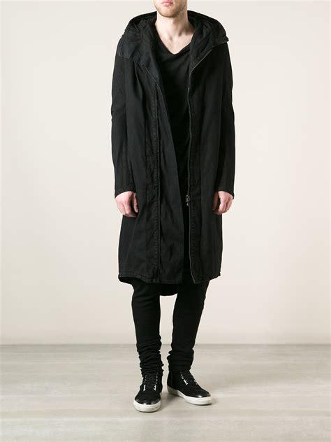 julius hooded long coat  black  men lyst