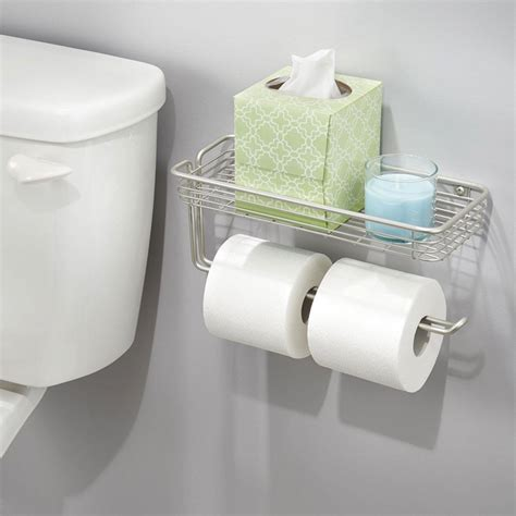 toilet paper shelf wall mounted double toilet paper roll holder bathroom