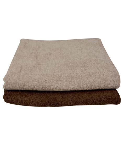 Beige Set The Fancy Mart Set Of 2 Cotton Bath Towel Beige Brown