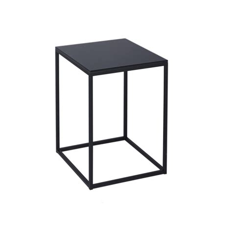 Black Glass Side Table Buy Black Glass And Black Metal Square Side Table From Fusion Living