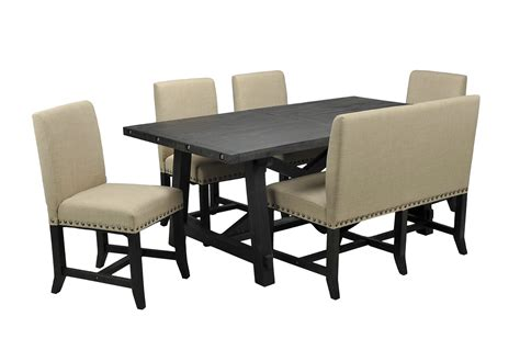 upholstered dining bench jaxon 6 piece rectangle dining set w bench upholstered