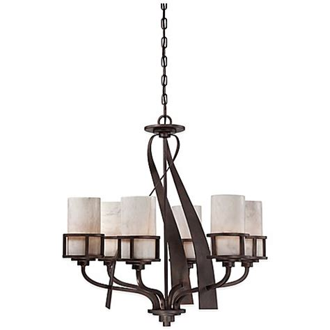 Quoizel Kyle Chandelier Buy Quoizel Kyle 6 Light Ceiling Mount Chandelier In Iron Gate With Onyx Shade From Bed Bath
