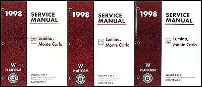 manual repair autos 1998 chevrolet lumina engine control 1998 chevy lumina and monte carlo repair shop manual original 3 volume set