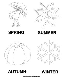 summer winter spring fall colouring pages
