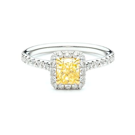 Delicate Fancy Yellow Diamond Halo Engagement Ring   JM