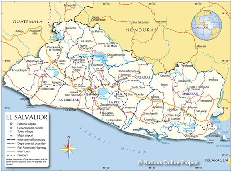 the map of el salvador el salvador roads map