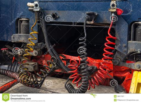 cables connecting truck and trailer stock image image of