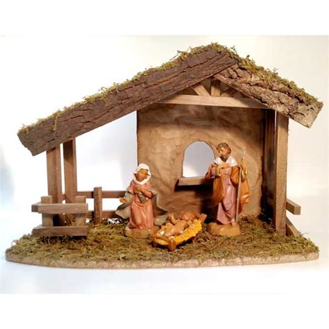 fontanini nativity starter set with holy family and stable