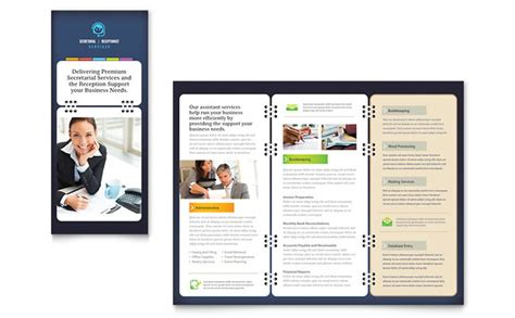 service brochure template secretarial services tri fold brochure template design