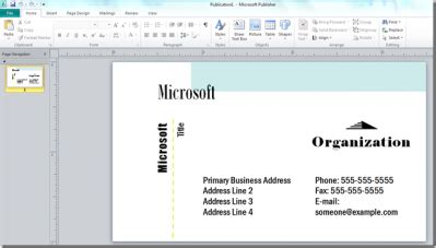 design create a business card using microsoft publisher