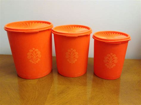 Tupperware Flower Canister 5 5l vintage orange tupperware canisters set of 3